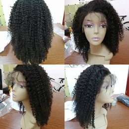 Top Curly Human Hair Wigs Australia - Afro Kinky Curly Silk Top Lace Front Human Hair Wigs Virgin Brazilian Glueless Full Lace Wig Human Hair Color #1B for Black Women