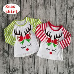 $enCountryForm.capitalKeyWord NZ - Kids Xmas elk Print Shirt Children red green striped sleeve tops Baby Icing Raglan long sleeve cloth for 1-7T