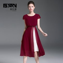 Discount fork style dress - New style,short sleeve,collect the waist,fashion forking,splicing A-Line chiffon pleats dress.Office lady and party dres