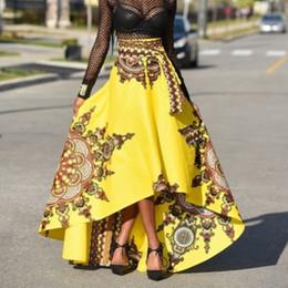 Venta al por mayor de Sikilely venta caliente falda baja alta frente corto largo espalda mujeres nacionales africanas faldas imprimir calle alta estilo étnico negro