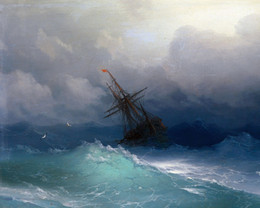 $enCountryForm.capitalKeyWord Australia - Storm At Sea Russian Seascape Ship Wreck Ocean Handpainted & HD Print Seascape Art Oil Painting On Canvas Home Deco Wall Art l102