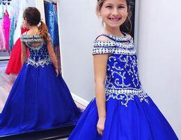 Vente en gros 2018 bleu royal filles pageant robes cristaux perles mancherons dos nu princesse robe de bal enfants formelle porte fleur robe fille