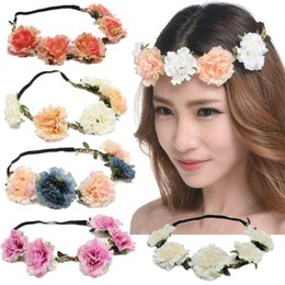 Discount small elastic bands - Small Cherry Blossoms Hair Band Colorful Wedding Bride Headbands Wreaths Resin Flowers Elastic Headband Party Beach Supp