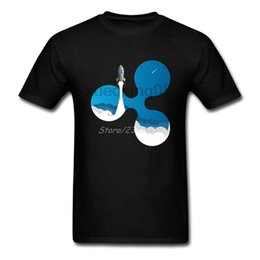 China Ripple Rocket XRP Crypto Currency T Shirt Short Sleeve Custom Men's Clothes 2018 New Plus Size Cotton Crewneck Clothes For Men cheap wholesale plus size clothing for men suppliers