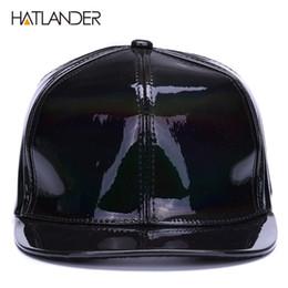 cc724a39b56  HATLANDER Shining PU flat brim baseball hats for boys girls solid snapbacks  cap PUNK street dancer leather cool hip hop caps