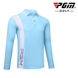 Discount golf wind - Autumn new PGM golf clothing men's T-shirt game with the same section of the ball sports function fabric wind and warm