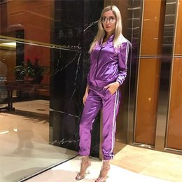ElEgant suits sEts for woman online shopping - Satin Two Piece Set Tracksuit for Women Elegant Top and Pants Set Womens Casual Sweat Suits Fitness Autumn Outfits Women Sportwear New