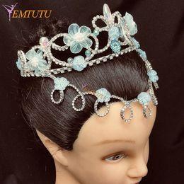 Dont Quixote Professional Ballet Tiara Crown Fatto a mano Crystal Ballet Headpiece Blue Performance Headwear Custom Made