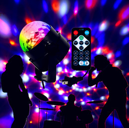 Wholesale Mini RGB W Crystal Magic Ball Led Stage Lamp DJ KTV Disco Laser Light Party Lights Sound IR Remote Control Christmas Projector