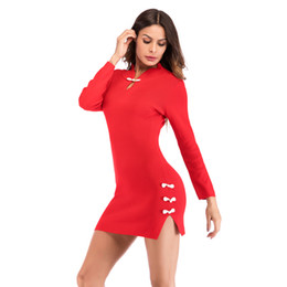 Chinese  Spring Autumn Women's Fashion Dress elegant minii Bodycon Dress Chinese cheongsam style Sexy Knitted dress M L XL black Red manufacturers