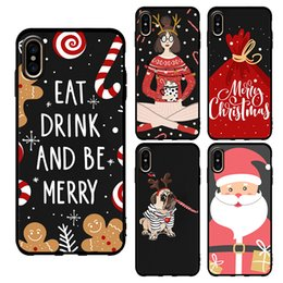 Custom Printed Iphone Cases Australia - Custom Santa Claus Phone Case for iPhone XR XS XS MAX Samsung s9 UV Printing Matte Silicone Case Cover