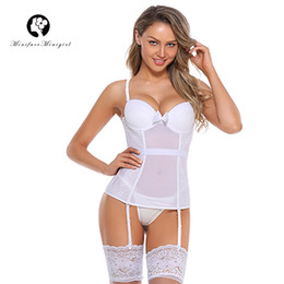 Minifaceminigirl Blanco Sexy Overbust Bustier Corset Sex Femme Lace Up Lencería Apliques Mujeres Push Up Plus Size Bustier Corsés en venta