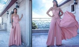 $enCountryForm.capitalKeyWord Australia - New Arrival Custom Made Arabic Floor Length One Shoulder Long Sleeves Pink Jumpsuit 2018 Train Elegant Evening Dresses