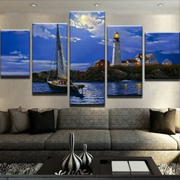Art Canvas Prints Australia - Modular Picture Framed Abstract Modern 5 Panel Lighthouse Boat Canvas Painting HD Printing Wall Art For Living Room Home Decoration