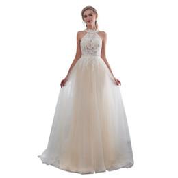 c9f9fec4afb Vivian s Bridal Summer Pearls Halter Belt Women Wedding Dress Back Button  Illusion Sleeveless Lace Appliques Simple Bridal Dress