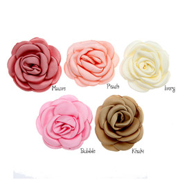 Roses For Hair Australia - 2.3inch Stain Flower Burned Edge flowers DIY Supplies Rolled Rose Satin Fabric Flowers For Hair Accessories 30pcs lot