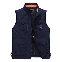 Wholesale photographers' vests resale online - Newest Sleeveless Vest Men Summer Breathable Waistcoat Fashion Multipockets Men Vest Waterproof Photographer Vest Colete Masculino