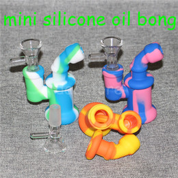 inline percolator bongs NZ - 100% Food Grade Mini Bubbler Small Silicone Water Pipe Ash Catcher Inline Percolator Hand Glass Bongs Oil Rig Mix Colors