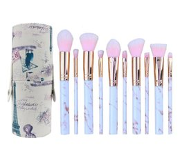 metal makeup brush set 2020 - 2018 hot Foundation Brushes 10PCS marble makeup brush set PU cylinder make up brush kit makeup beauty tools A290 cheap m