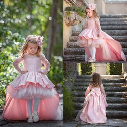 Custom elegant pageant sashes online shopping - 2018 Elegant High Low Pink Arabic Dubai Weddings Flower Girl Dresses Vintage Long Sleeve Appliques Sequins Big Bow Sash Girls Pageant Gown