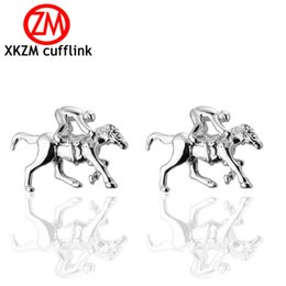 Horse Suit NZ - High Quality French animal Style Silver Riding horse Cufflink For Mens Shirt Brand suit Cuff Buttons Top sale Cuff Links Jewelry