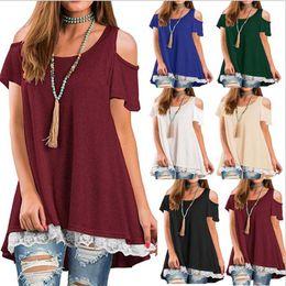 d964c46976c Summer Vestidos t-shirt women Fashion Lace Dresses big wave Short Sleeve  Off Shoulder Loose Beach Solid Mini Dress Tops Irregular Clothing
