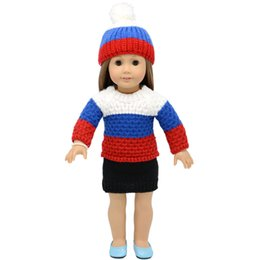 Wool Clothing Children Canada - 18 inchs Alexander doll clothes sweater coat with hats and skirt for child party gift toys--Doll Clothes Accessories for American Girl