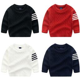 Meninos camisola estilo preppy crianças gola redonda tarja manga comprida  de malha pullover crianças jumper de algodão xadrez vermelho branco preto  da ... 6a64f8f605ce