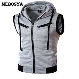 Barato Hoodie Branco Com Capuz Homens-2016 Men Grey Hoodies Ternado Casaco sem mangas Casual Autumn Fitness Mans Vest Masculino Slim Fit Hooded Zipper Sweatshirts