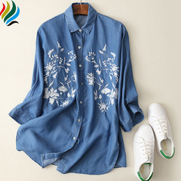 $enCountryForm.capitalKeyWord NZ - Women Denim Embroidery Blouse Shirt New 2017 Spring Casual Loose Flower Embroidered Tops Clothing Fashion Long Blouses Jeans