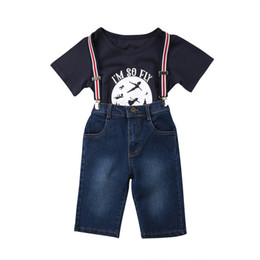 Chinese  2018 Suspender Girls Blue 2PCS I'm So Fly Leers Kids Denim Bib Pants Outfits T-shirt+Jeans manufacturers