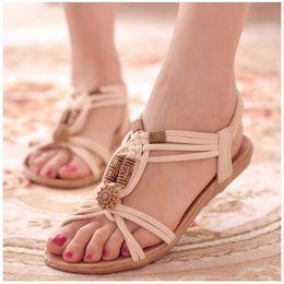 Wholesale Bohemia Sandals Canada - Women Sandals 2018 Summer Bohemia Comfortable Ladies Shoes Beach Gladiator Sandal Women Casual Female Flat Sandals Fashion Shoe