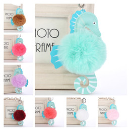 Wholesale Cartoon Animal Hippocampus Horse Keychain Styles Faux Rabbit Fur Pom Pom Keyring Bag Car Flurry Key Ring Pendant Women Gift