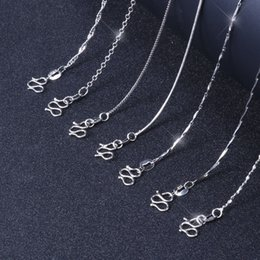 $enCountryForm.capitalKeyWord Canada - Chain Silver Plated Classic Basic Lobster Clasp Adjustable Necklace Chain Fashion Luxury Jewelry Girls Box Snake Rope Cross Chain Necklace