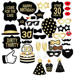$enCountryForm.capitalKeyWord NZ - Birthday Photo Booth Props Kit 30 Years Old Photo Booth Prop Birthday Party Decoration 36pcs 1 lot YW300