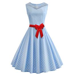 $enCountryForm.capitalKeyWord NZ - Women's Clothing 2019 Summer fashion plus size Blue Casual Dresses for womens Polka Dot Print Sleeveless vintage prom dress expansion skirt
