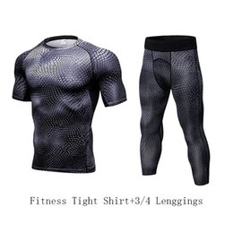 Wholesale tshirt muscles online – design YD Muscle Men s Compression Suit Leggings Tshirt Quick Dry set Running Set Fitness Tight Sport Jogging Suit Sportswear