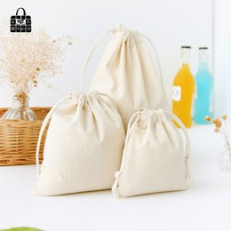 pure linen cloth 2019 - Pure color print coon linen fabric dust cloth bag Clothes socks underwear shoes receive bag home Sundry kids toy storage