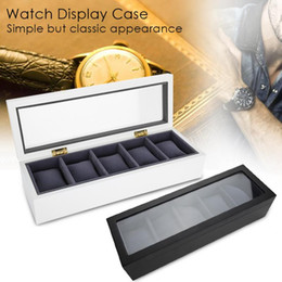 Box Jewelry Storage Organizer Black Australia - 2018 High Quality 5 Slots Wrist Watch Display Boxes Professional Storage Holder Organizer Watch Case Jewelry Dispay Box