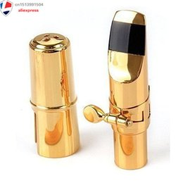 Discount ligature alto sax - Private Custom Alto Sax Mouthpiece, Gold Plated Metal Eb Alto Saxophone Mouthpiece + Cap + Ligature Size #7