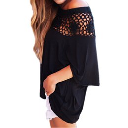 $enCountryForm.capitalKeyWord NZ - Loose Casual Women Half Sleeve Shirt T Shirt Tee Tops Blusa Lace Up Hollow Out Slash Neck Sexy Off The Shoulder WS490U