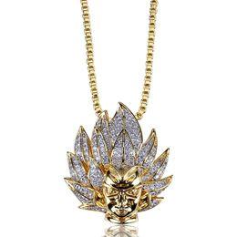 18k Gold Jewelry For Men Australia - Personalized Cartoon Super Saiyan Wukong Portrait Pendant Chain Necklace 18K Gold Plated CZ Cublic Zirconia Diamond Hip Hop Jewelry for Men