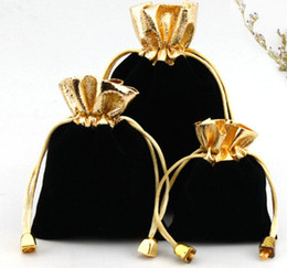 Wholesale 100pcs lot BLACK 7x9cm 9x12cm Velvet Beaded Drawstring Pouches Jewelry Gift Pouch drawstring Bags For Wedding favors,beads