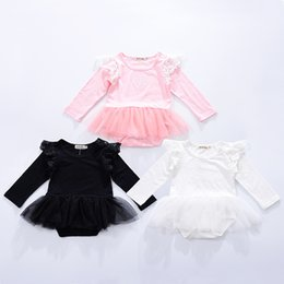 Fly Beach Canada - Girls Dresses Baby Dress Fly Sleeves Romper Jumpsuit Gauze Tulle Skirt Spring Autumn Baby Clothes Children Kids Clothing Free Shipping 215