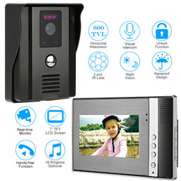 intercom monitor camera NZ - Video Door Phone Two-way Audio Intercom System Doorbell With IR Camera Night Vision Unlock 7 Inch TFT LCD Monitor