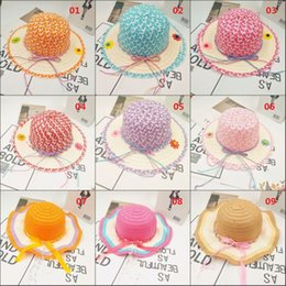 Colorful Knit Hats NZ - Colorful Summer Sweet Straw Knit Hat Girl's Sun Hat Shade Sun Protection Children's Travel Outdoor Hat Cap