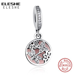 Discount pandora snake chain necklace - ELESHE New 925 Sterling Silver Beads Butterfly Dragonfly Flower Pink Enamel Charm Fit Pandora Snake Chain Bracelets&Neck