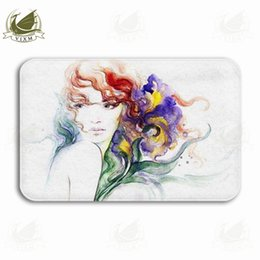 kitchen mat rug NZ - Vixm Summer Background Abstract Watercolor Woman Portrait Welcome Door Mat Rugs Flannel Anti-slip Entrance Indoor Kitchen Bath Carpet