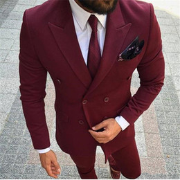 mens double breasted summer suits NZ - Slim Fit Mens Burgundy Wedding Suits Tuxedo Wine Red Double Breasted Groomsmen Suits Best Man Prom Wear Blazer Terno Masculino Costume Homme