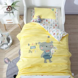 Bear Twin Bedding Set NZ - Parkshin Child Cartoon Yellow Lovely Bear Active Printing Bedding Set 100% Cotton Soft Protect Kids Skin Comfortable Bedspread